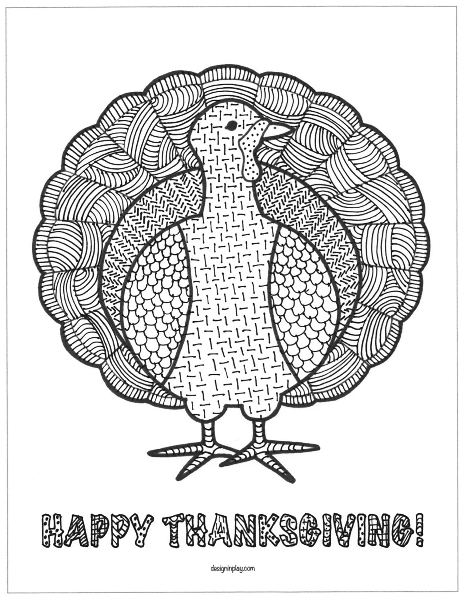 Simple coloring page of a beautiful Turkey, to color for