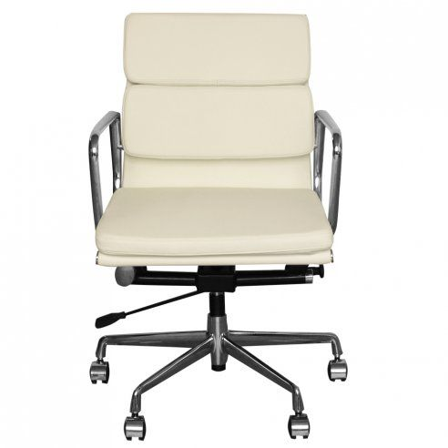 Eames Inspired Off White Leather Short Back Soft Pad Style