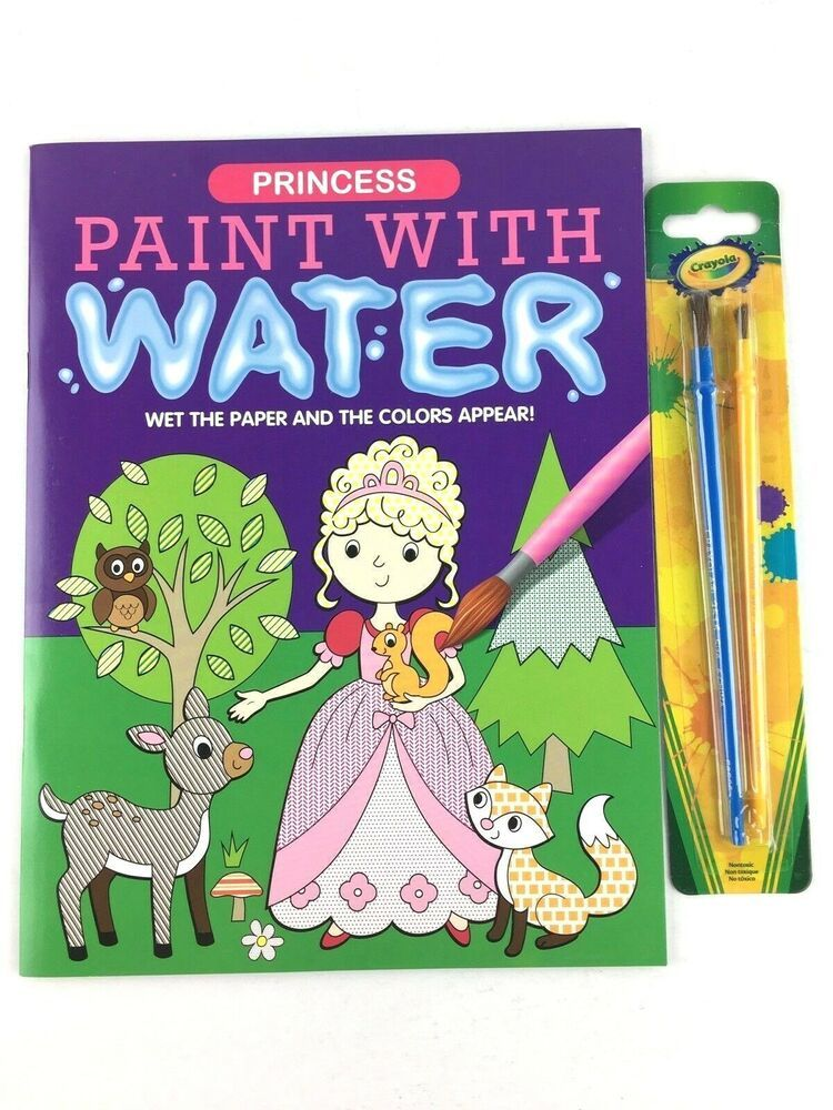 Princess Paint With Water Coloring Book Cinderella Jasmine And 2 Crayola Brushes Princess Painting Coloring Books Painting For Kids