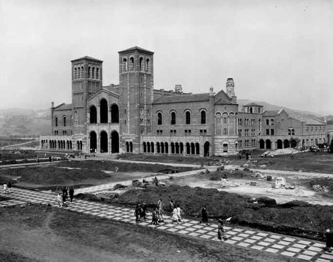 Historical photos of UCLA and Westwood Village from first day of classes to late-1930s.