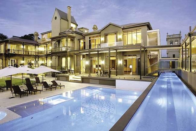 Architecture Hawthorn Mega Mansion With Clean Pool, architecture