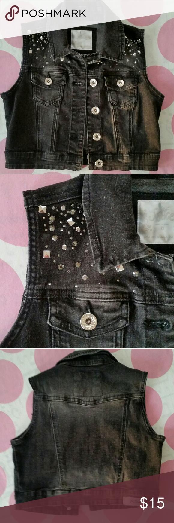 b93fde3f84 JUSTICE Girls Black Jean Vest