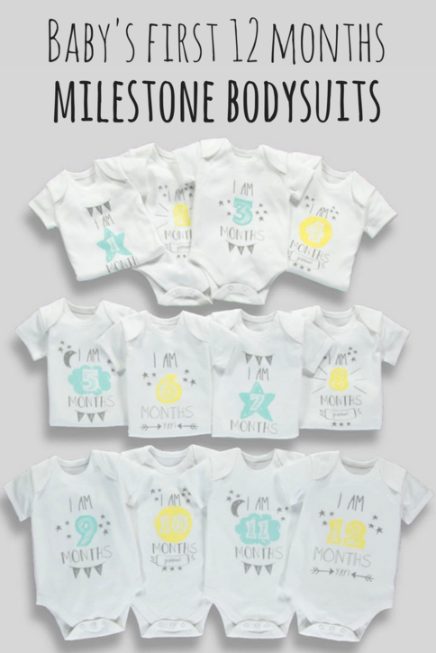 Babies Set of 3 Milestone Bodysuits Toddlers Romper Outfit Cotton Newborn