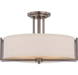 Nuvo Lighting 60/4858 Gemini Three Light Semi-Flush Ceiling Fixture with Khaki Fabric Shade, in Hazel Bronze Finish