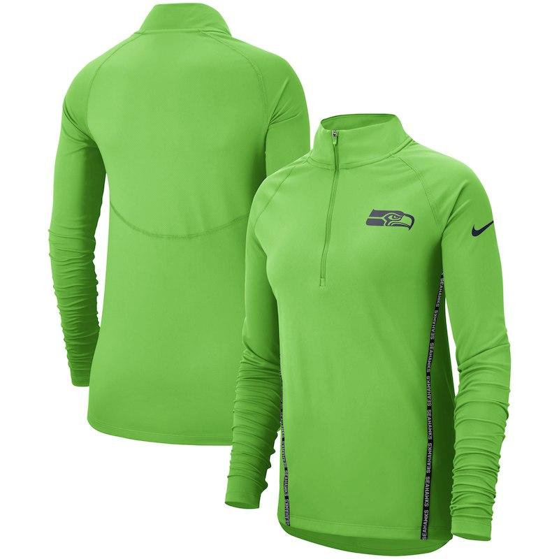 Seattle Seahawks Nike Women s Core Half-Zip Pullover Jacket - Neon Green a57bb4bd4