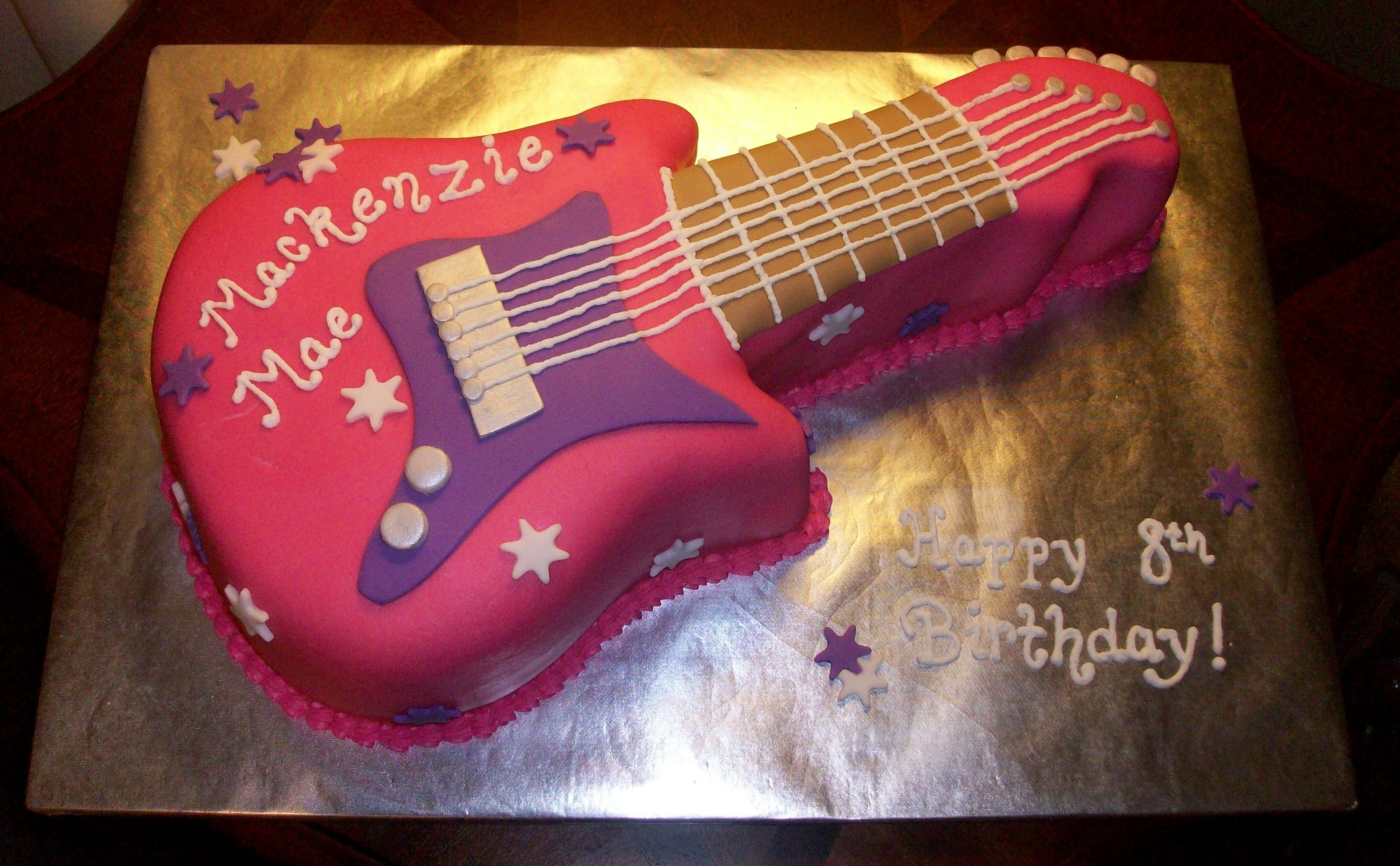 Guitar Cake I Made For A 8 Year Old Girl S Birthday Summer Birthday Party Rock Star Party Rock Star Birthday