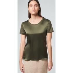 Photo of Silk short-sleeved shirt in olive windsor