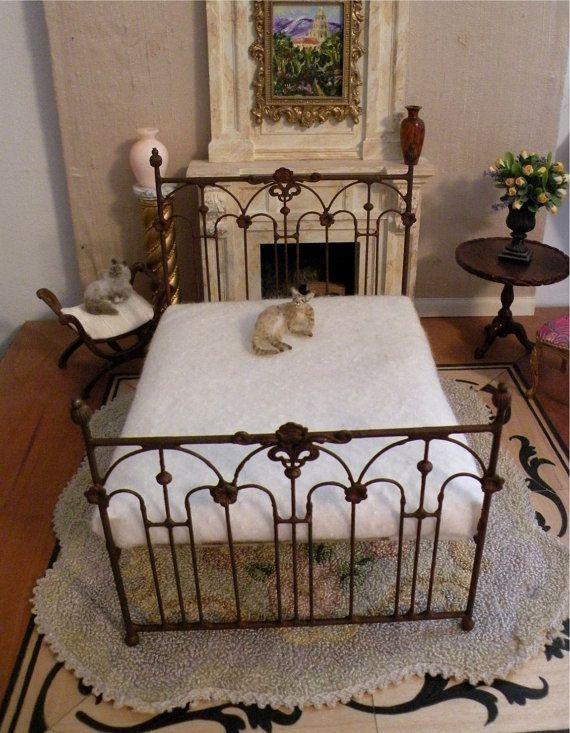 Miniature Artisan Made Wrought Iron Bed Tessa Half Scale 1 12