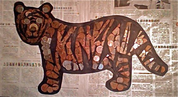 Made from 1p, 2p and 5p coins.... A cheap treat!