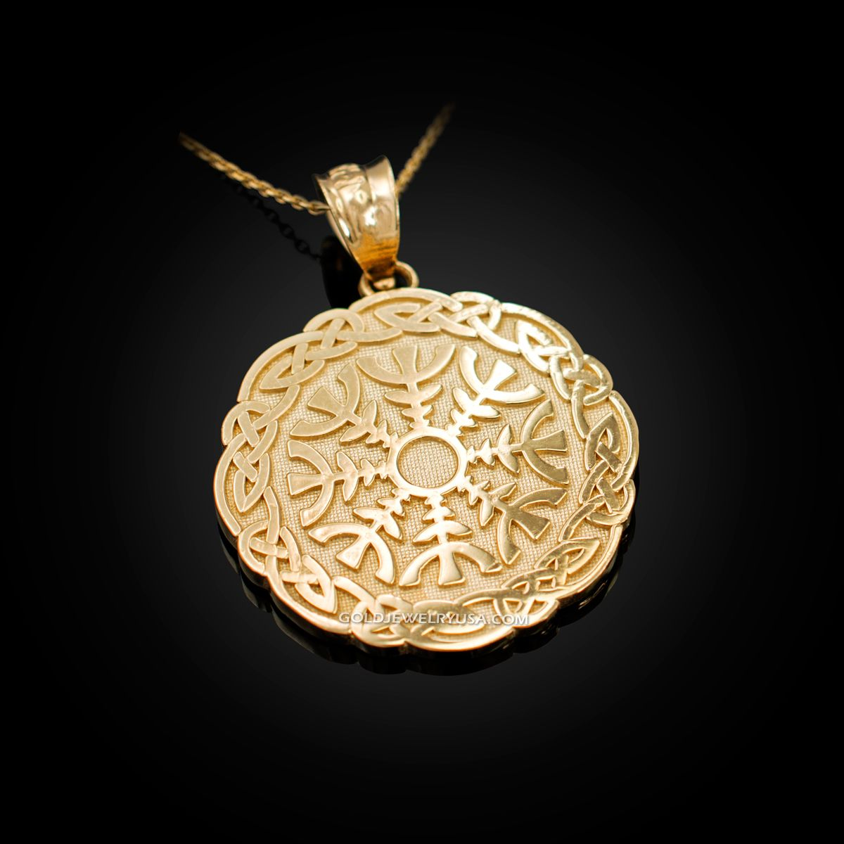 Yellow 14k Gold CZ Trinity Knot Celtic Cross Pendant Necklace