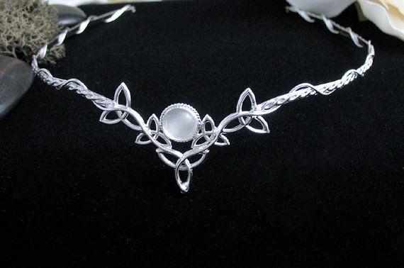 Trinity Knot Celtic Bridal Circlets 10mm Gem Celtic Wedding Circlets Sterling Silver Irish Diadems Celtic Wedding Circlets
