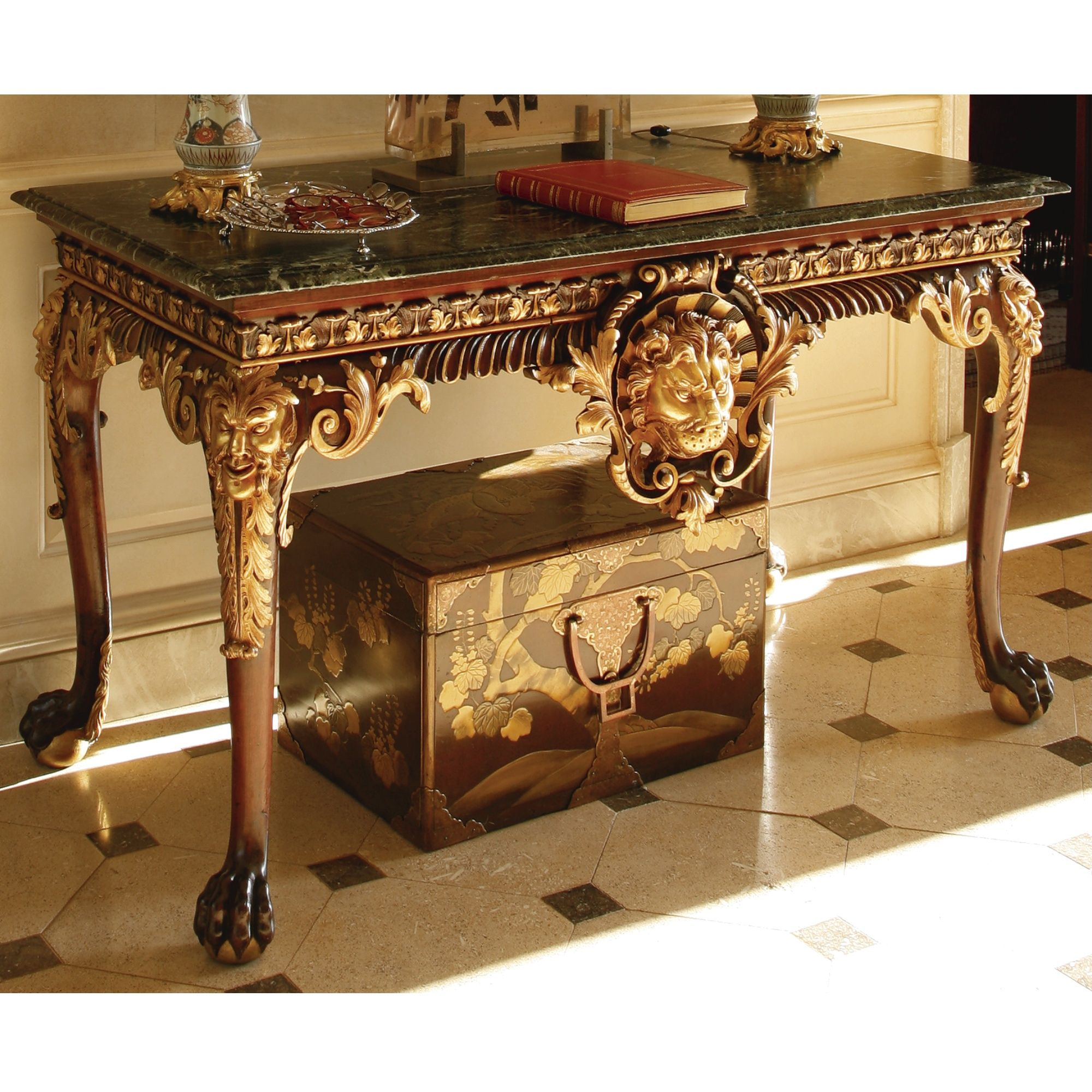A fine and rare George II mahogany and parcel-gilt marble top sideboard table<br>Circa 1730   lot   Sotheby's