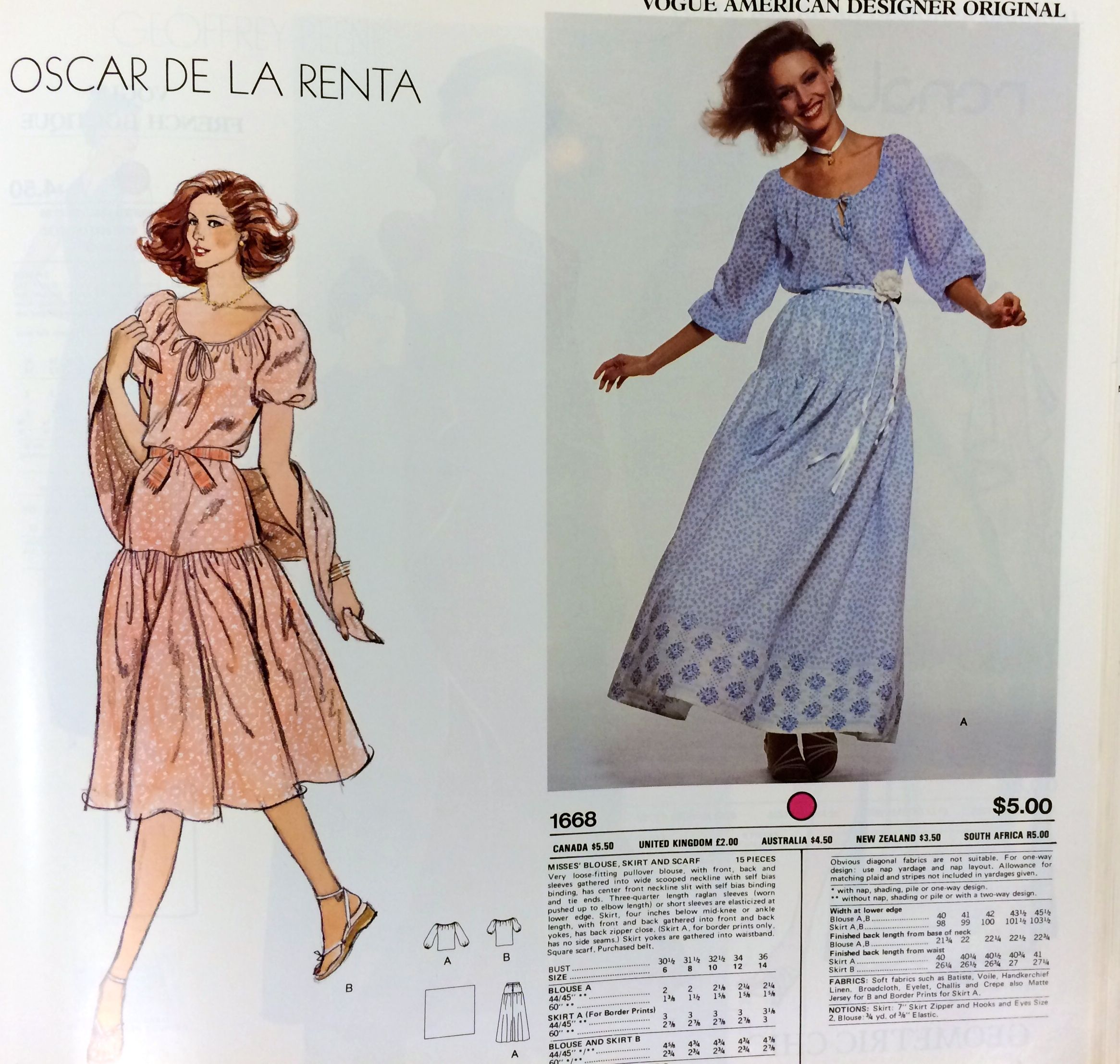 Oscar de la Renta sewing pattern for Vogue Patterns, c. 1970s ...