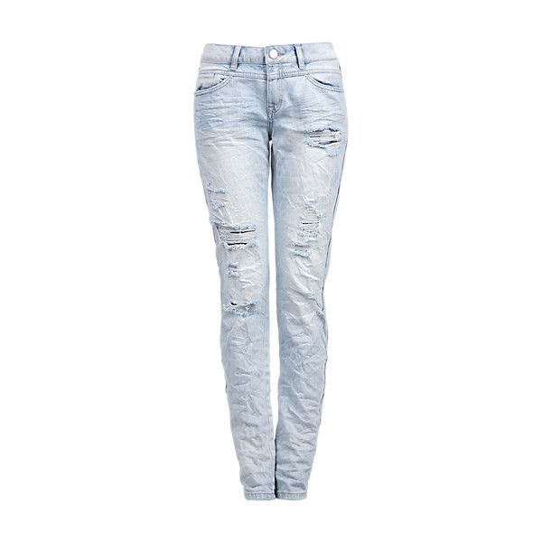 Gwen Boyfriend jeans with distressed details ($33) ❤ liked on Polyvore featuring jeans, bottoms, pants, boyfriend fit jeans, blue jeans, torn jeans, destroyed jeans and boyfriend jeans