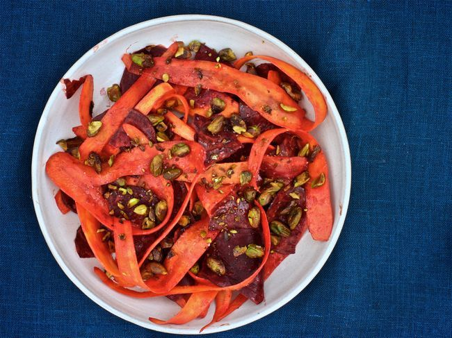 Beet and Carrot Salad with Curry Dressing and Pistachios | Bon Appétit Jan 2016 via The Bitten Word