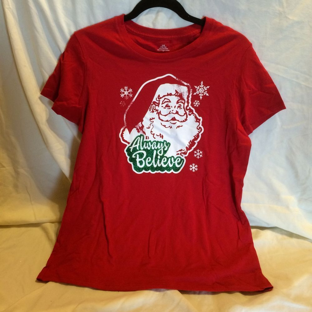 Womens Believe In Santa Christmas Top Junior Size Large 12-14 #Unbranded #GraphicTee