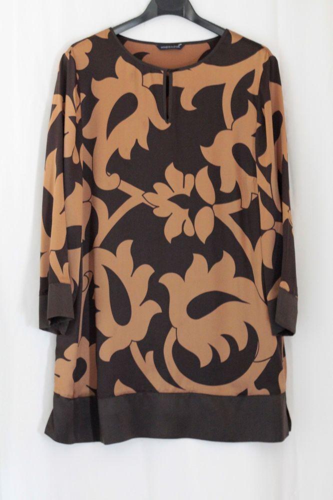Windsmoor 100% Silk Satin Brown Tunic Dress Top Size 14 may fit small 16 #Windsmoor #TunicKaftan #CasualBusinessOfficeSmart