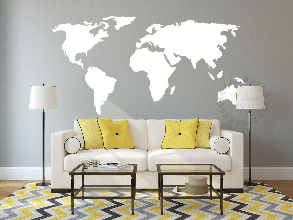 Vinyl world map wall decal Large map wall mural Map of the
