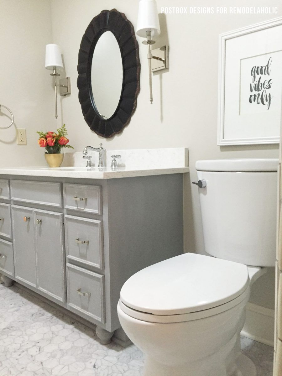 beautiful bath makeover using chalk paint to update a vanity rh pinterest com