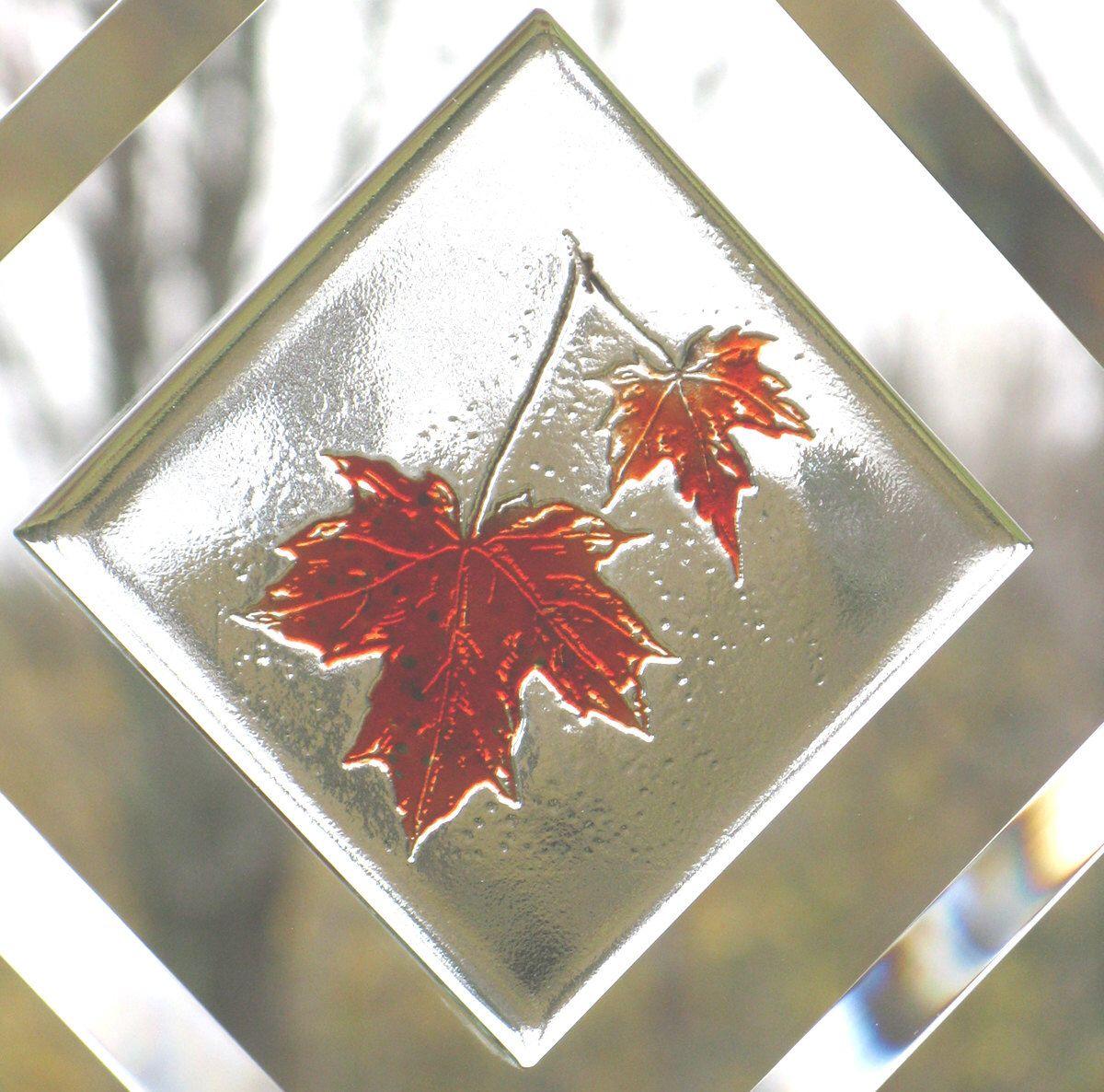 Maple Leaves, Engraved Maple Leaf  Suncatcher,  Maple Leaf Bevel Window Hanging, Fused Glass Maple Leaf, Engraved Maple Leaf,  BV121 by RavenGlassStudio on Etsy https://www.etsy.com/listing/208483557/maple-leaves-engraved-maple-leaf