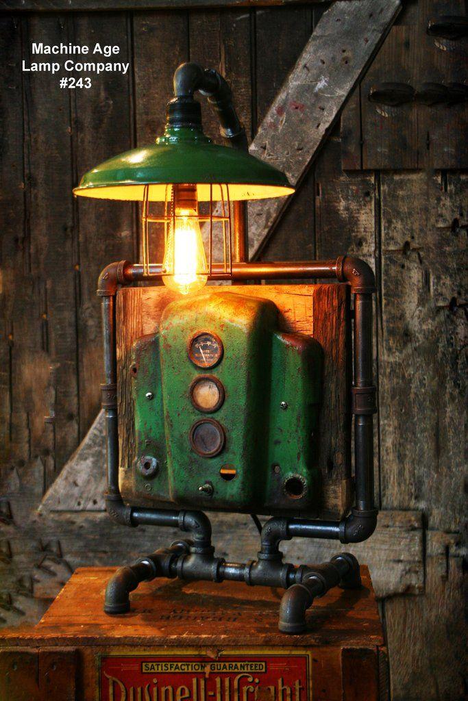 Steampunk Industrial Lamp, John Deere Dash Farm Tractor #243 MTO