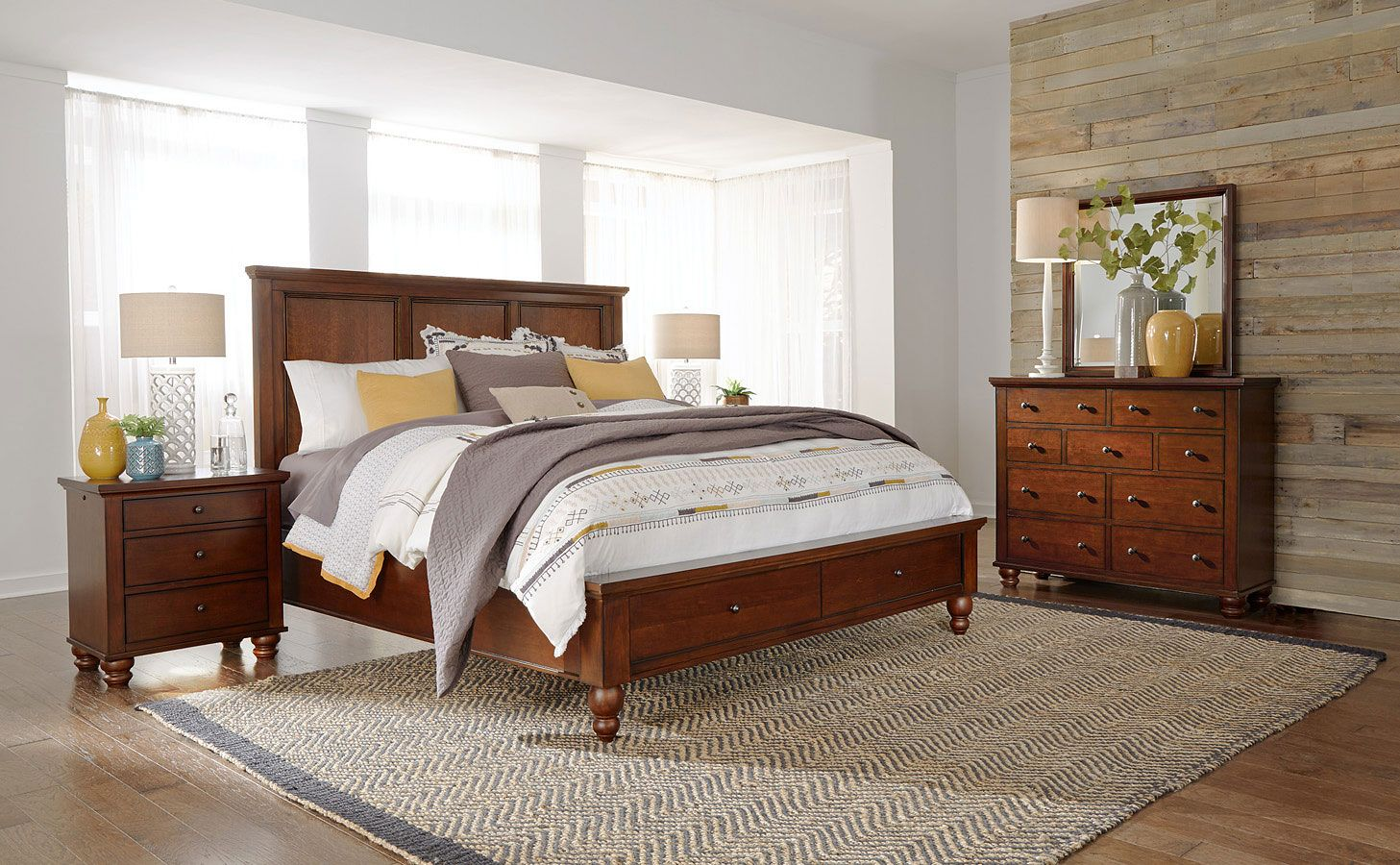 Cambridge Flat Panel Storage Bedroom Set Brown Cherry Bedroom Sets Aspen Furniture Furniture