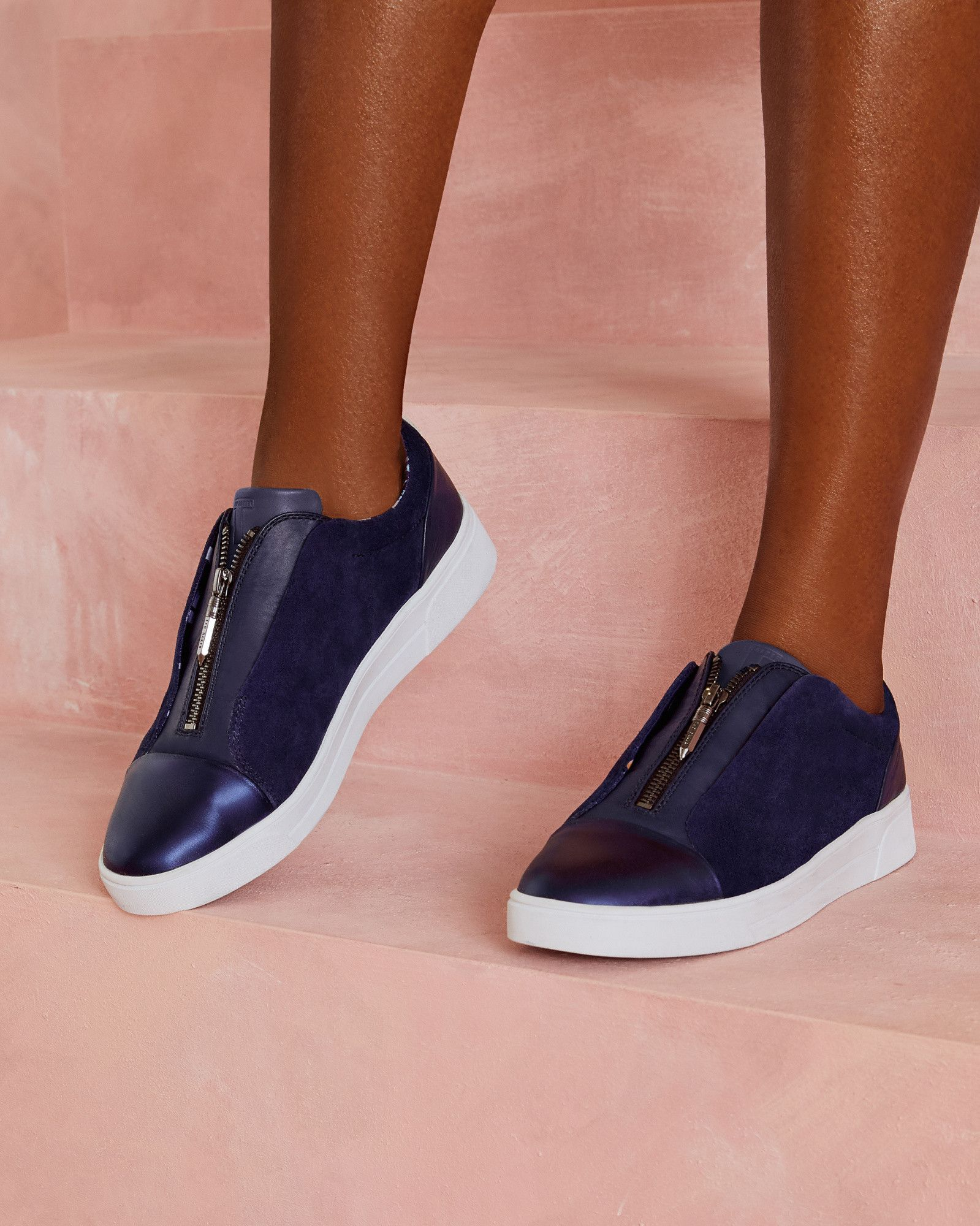 44b5e7517 Ted Baker Zip detail leather trainers Navy
