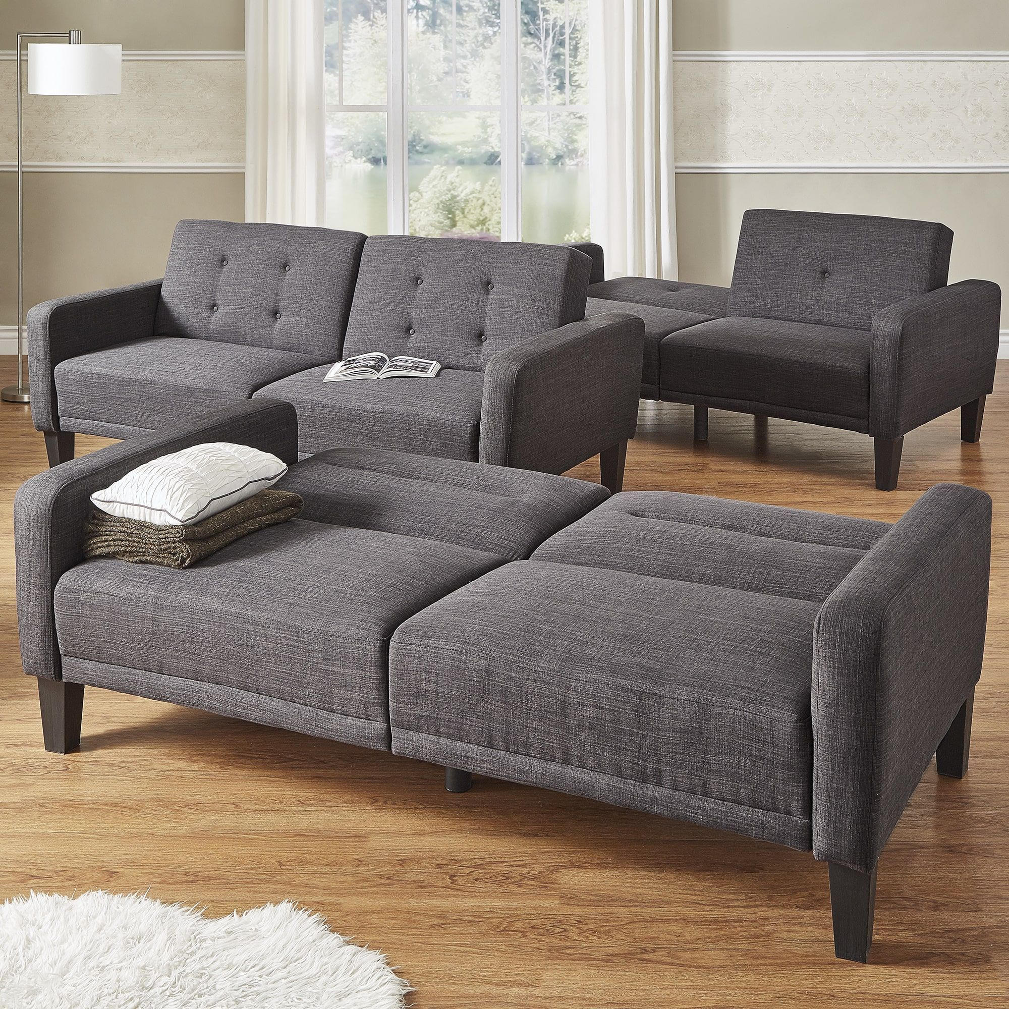 iNSPIRE Q Daxton Dark Grey Linen Rounded Arm Futon Sofa by MID-Century  Living