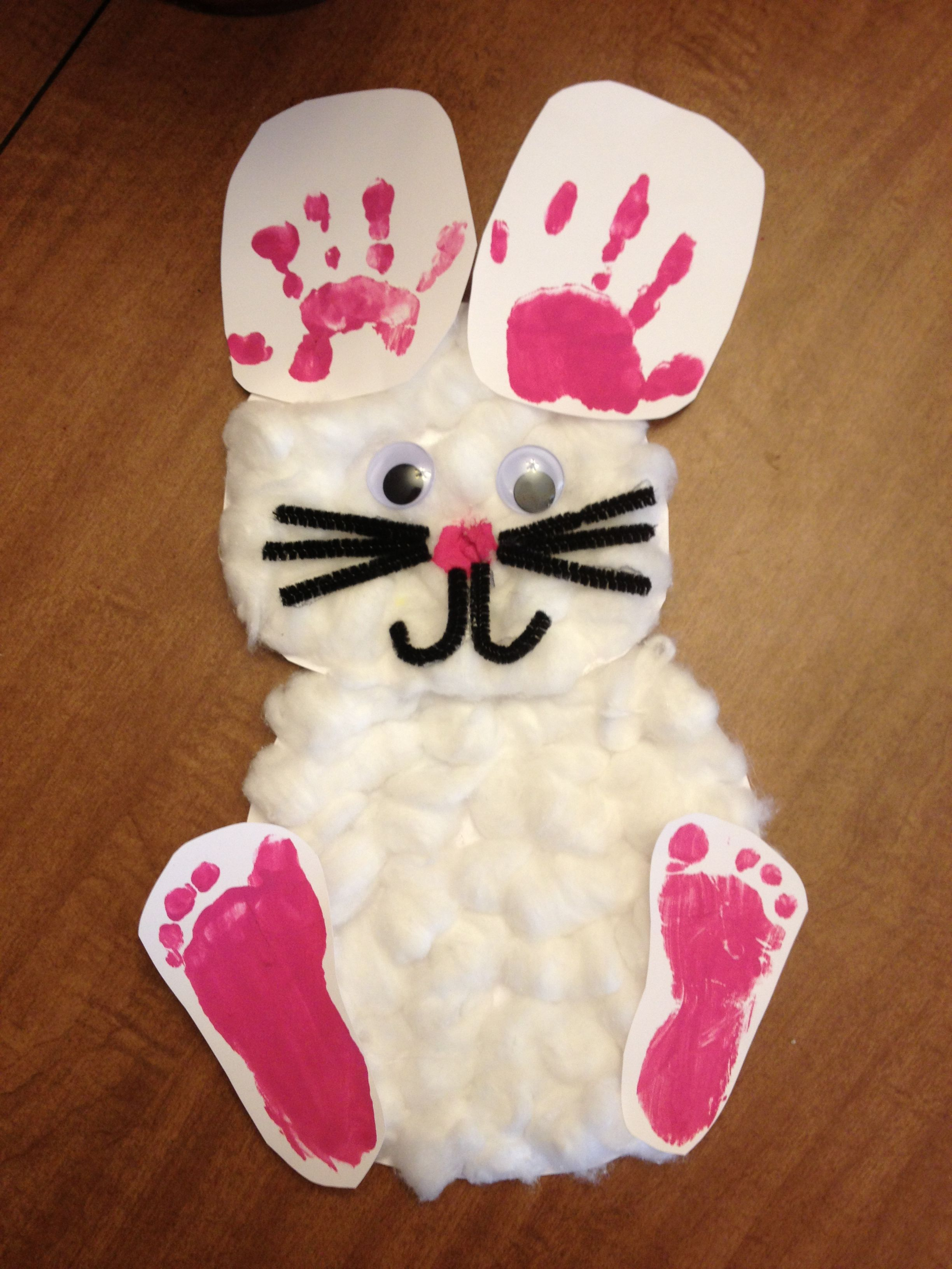 Easter Bunny Handprint And Footprint Craft With Images