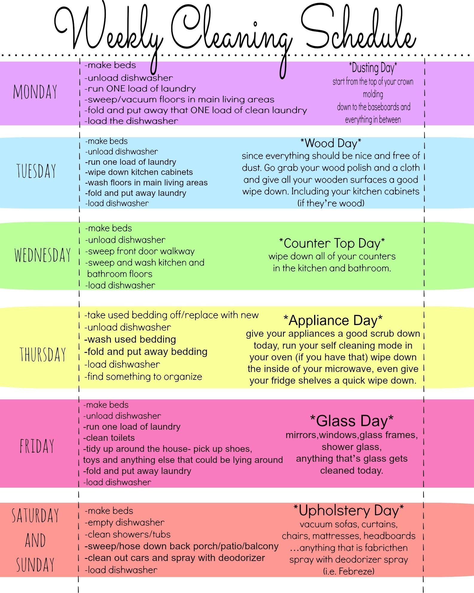 My Quirky Weekly Cleaning Chart Free Printable – Cleaning Schedule