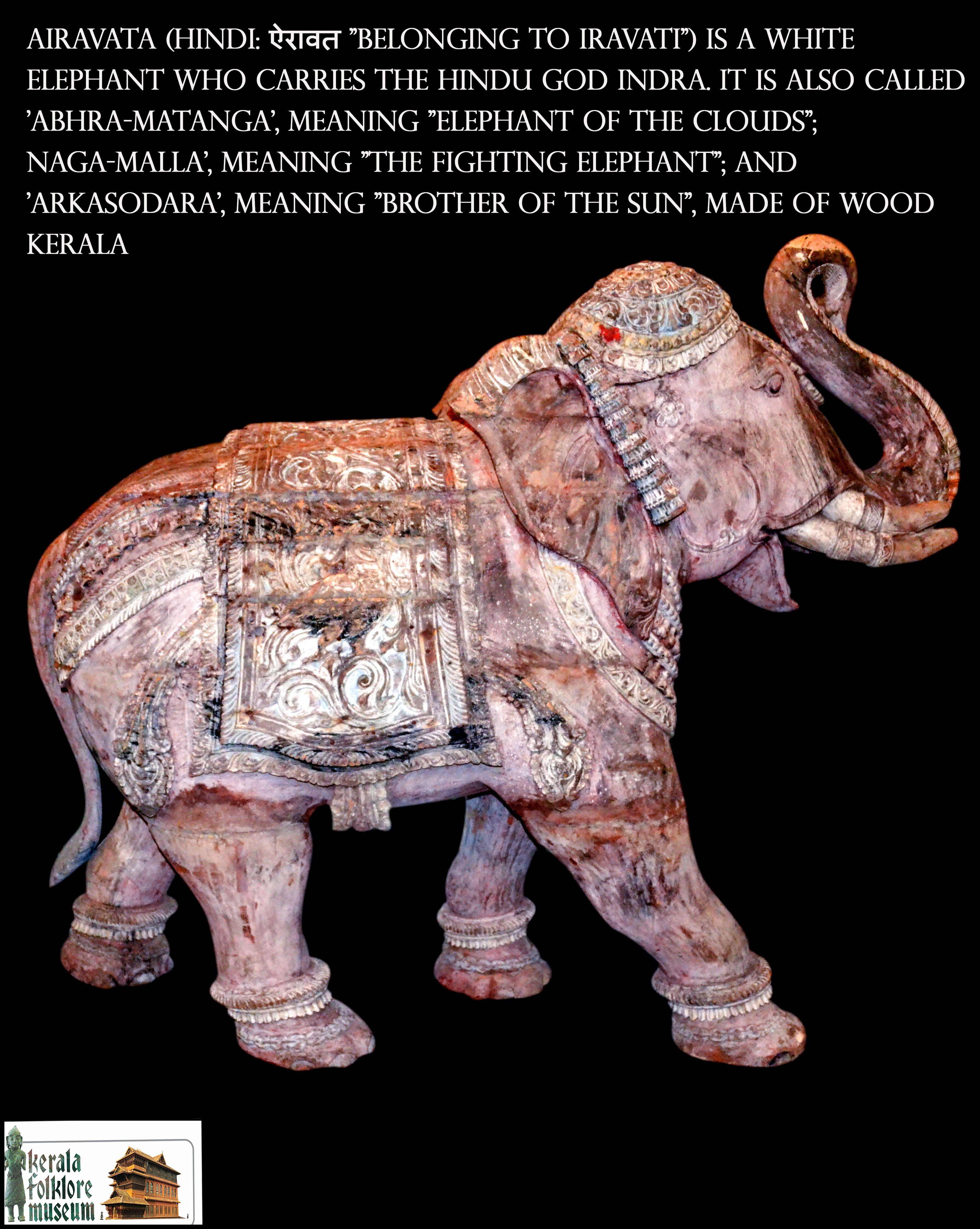 Airavata Wood Kerala Keralafolkloremuseum Wooden Sculpture