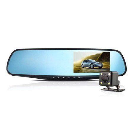 "1080P HD 4.3/"" Car Dual Lens Front Rear Mirror Dash Cam DVR Video Camera Recorder"