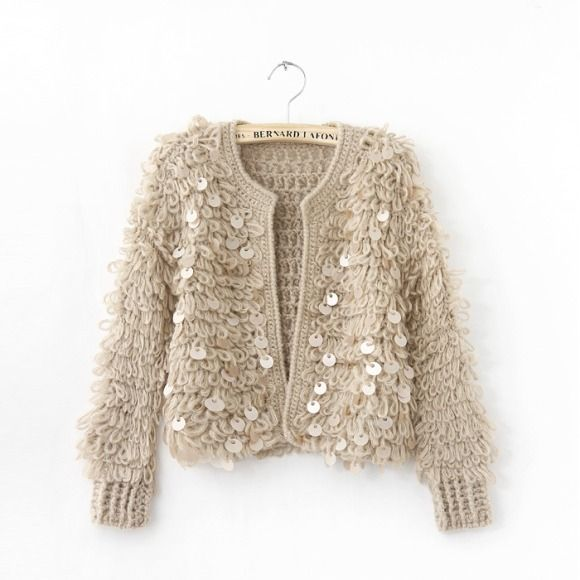 new hot pepper with thick yarn needle glitter retro cardigan ...