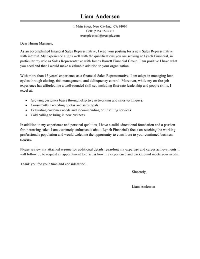 Best Sales Representative Cover Letter Examples Livecareer Job