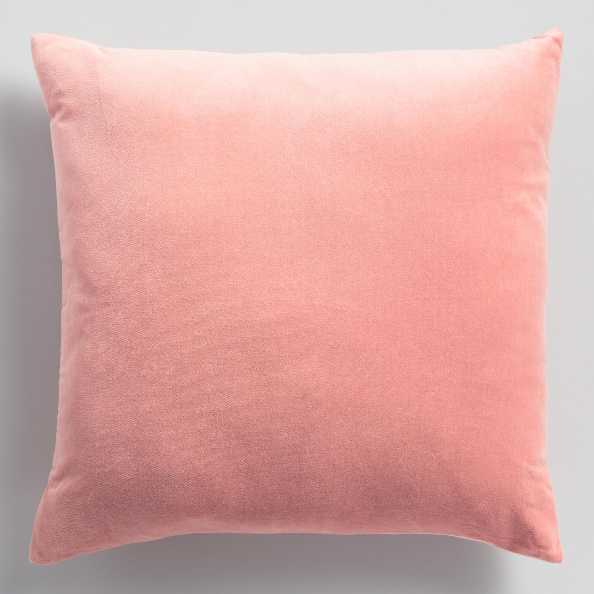 Salmon Pink Velvet Throw Pillow By World Market