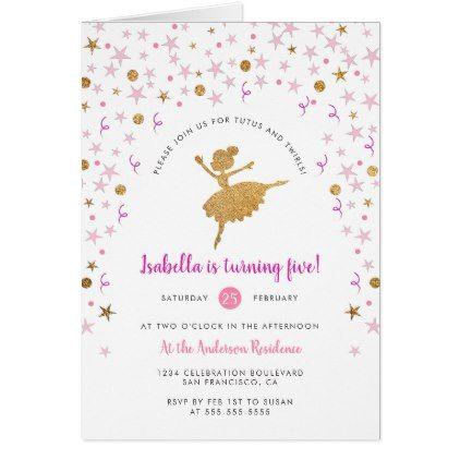 Gold pink confetti ballerina birthday invitation confetti gold pink confetti ballerina birthday invitation birthday gifts party celebration custom gift ideas diy filmwisefo