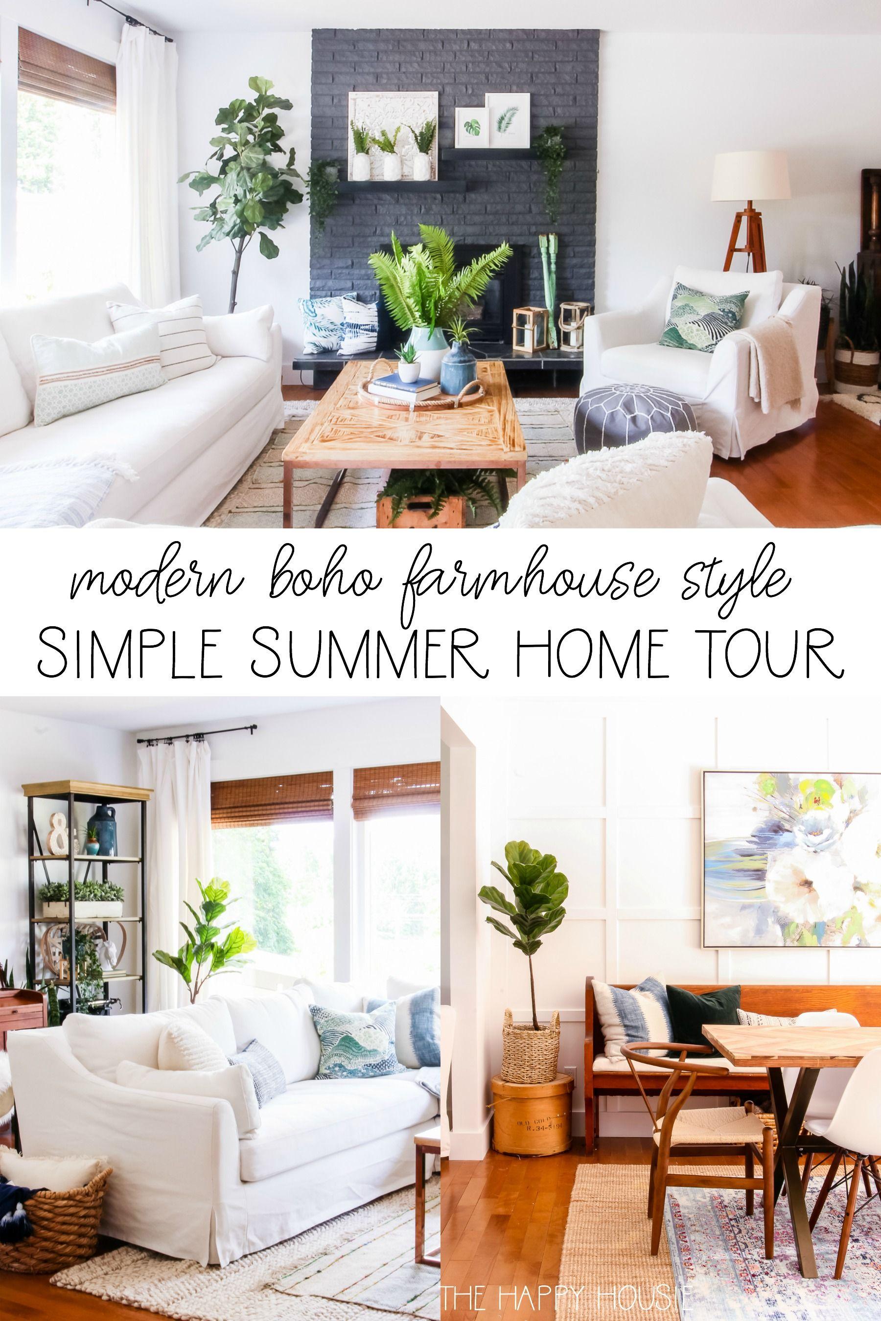 Modern Boho Farmhouse Style Simple Summer Home Tour The Happy Housie Farmhouse Dining Rooms Decor Country House Decor Farm House Living Room