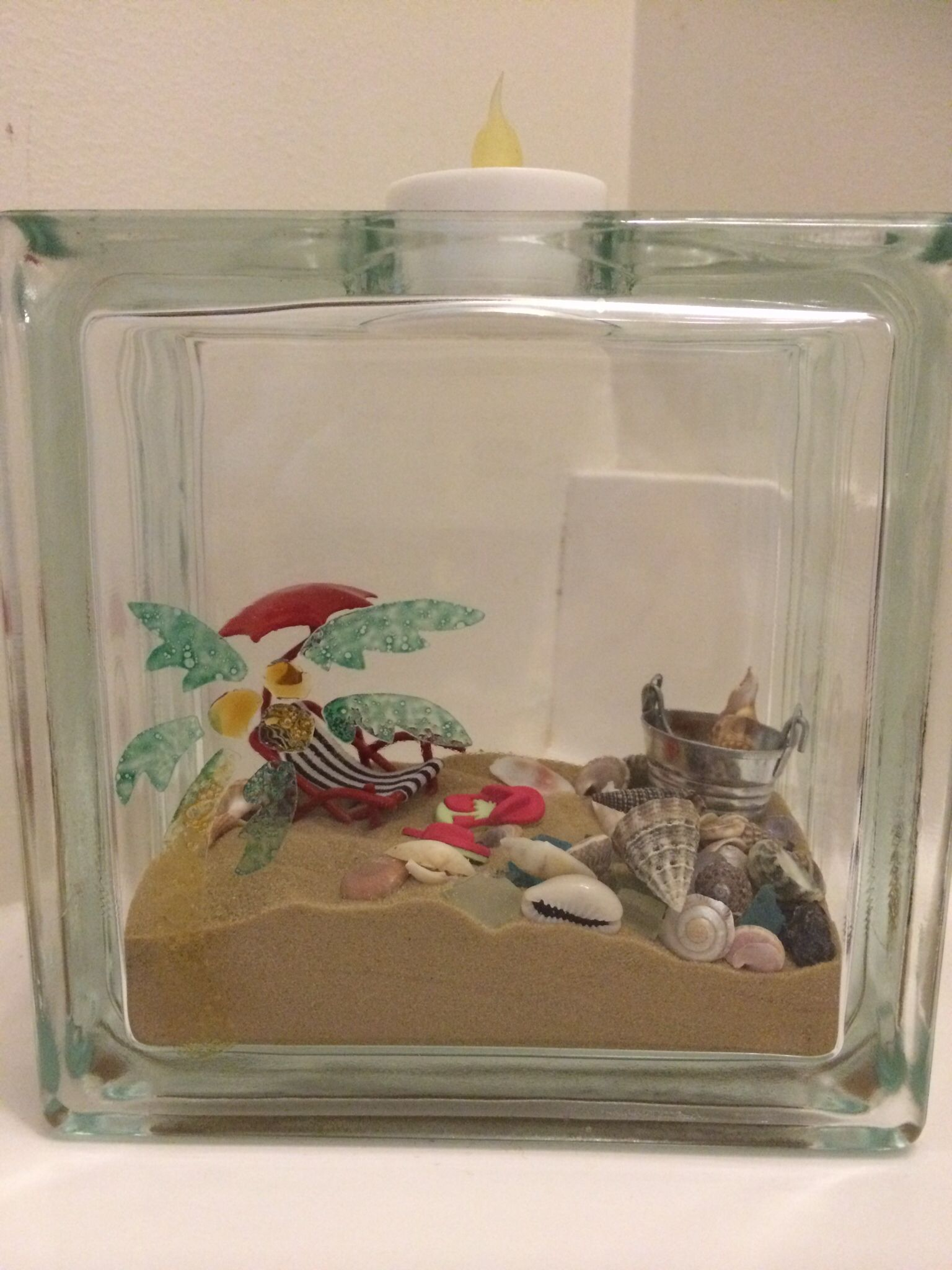 Beach Scene In Glass Block W Window Paint Stenciled Palm