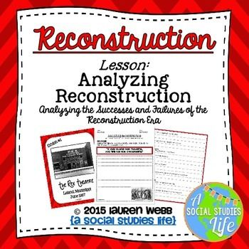 Reconstruction - Analyzing Reconstruction Museum Walk •Analyzing Reconstruction, documents, questions, Jim Crow laws, Ku Klux Klan, Black Codes, lynching, black freedmen, challenges of Reconstruction for black freedmen, failure of Reconstruction, common core literacy and vocabulary