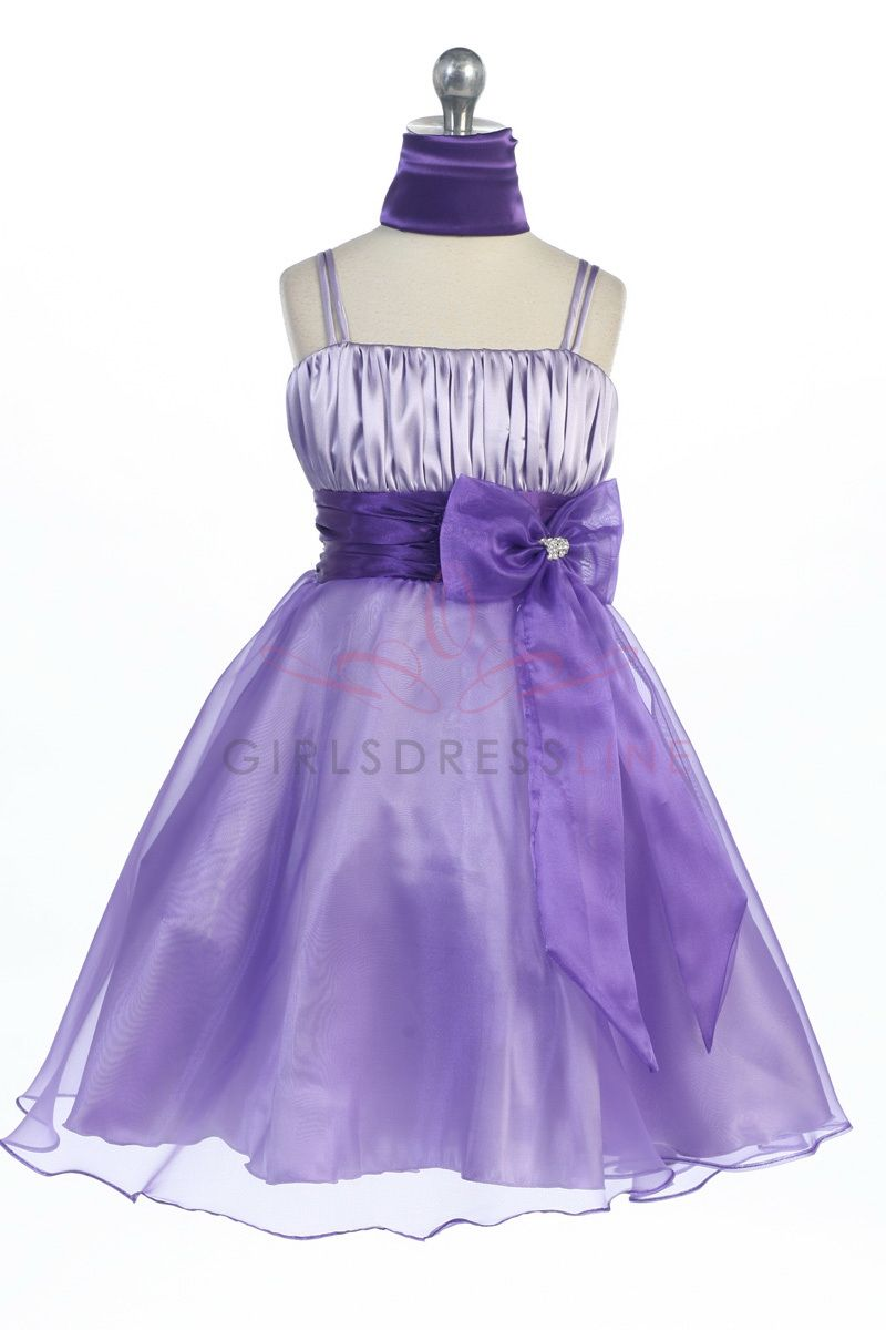 Lilac/Purple Satin Bodice Organza Flower Girl Dress G3028WU $54.95 ...