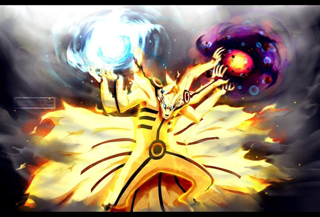 Sasuke Tailed Beast Susanoo Vs Naruto 3 Head Kurama Anime