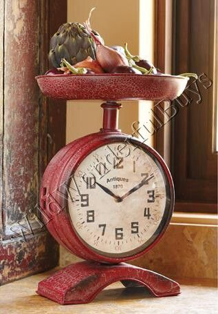 Vintage Country Chic Red Scale Clock French Distressed Kitchen Counter New | eBay