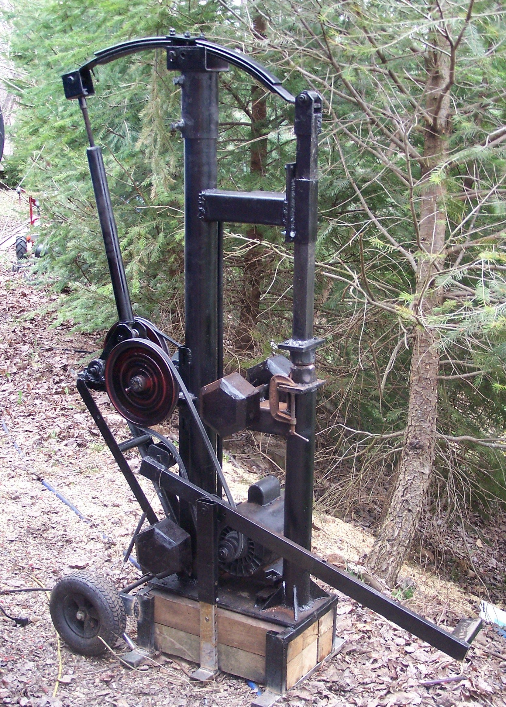 35 lb appalachian style power hammer built for 100 dollars and
