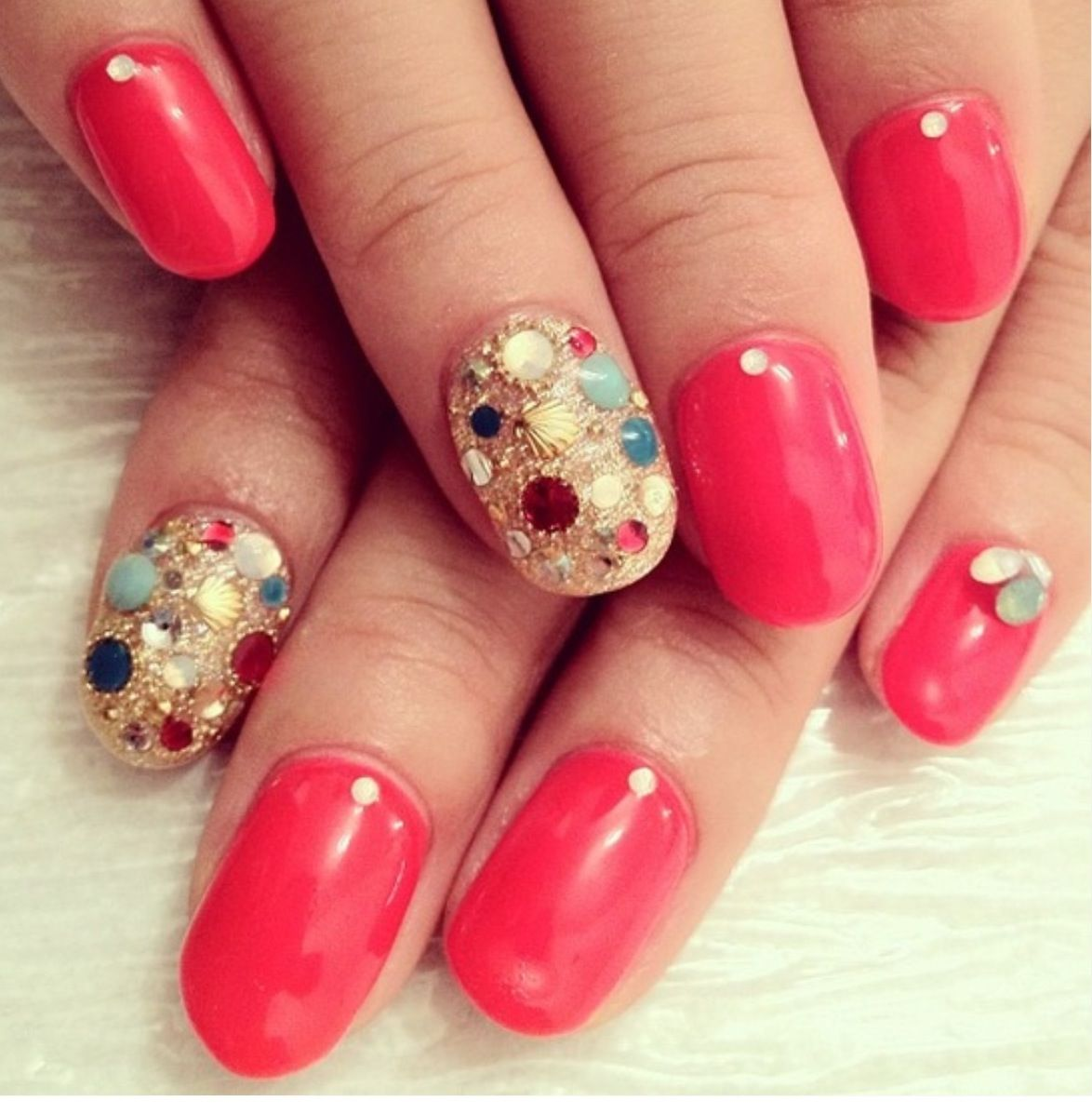 Coral Jeweled Nails | It\'S a Me ThInG | Pinterest | Jewel nails ...