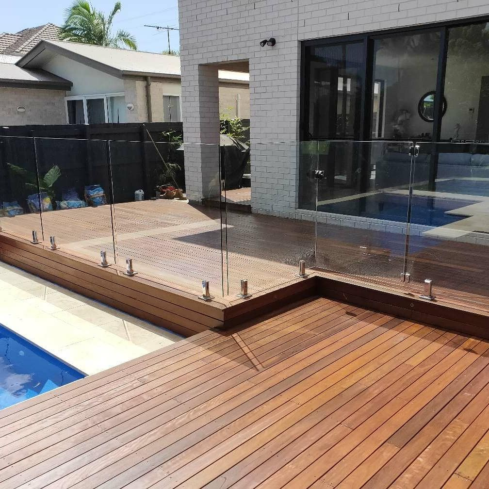 Red Iron Bark Deck Glass Pool Glass Pool Fencing Deck