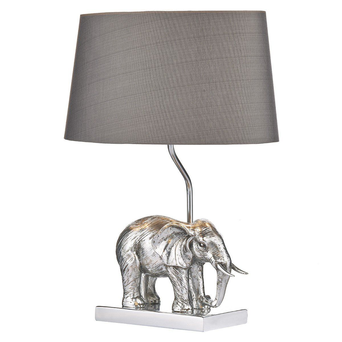 High Quality Safari Inspired Collection, Enrique Table Lamp Silver Complete With Shade