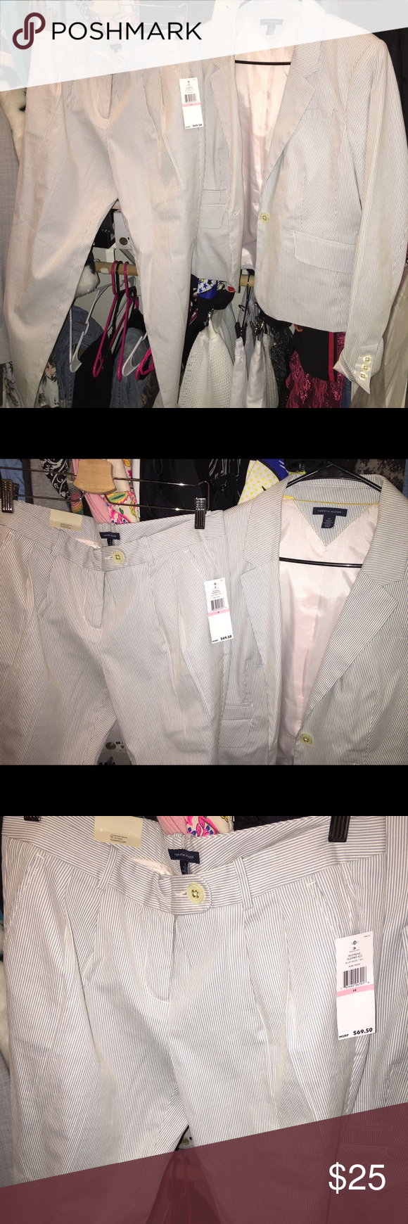 Tommy hillfiger suit Perfect condition New with tags. Tag says 10 on pants and 14 on the jacket but I would say they fit a size medium Tommy Hilfiger Pants
