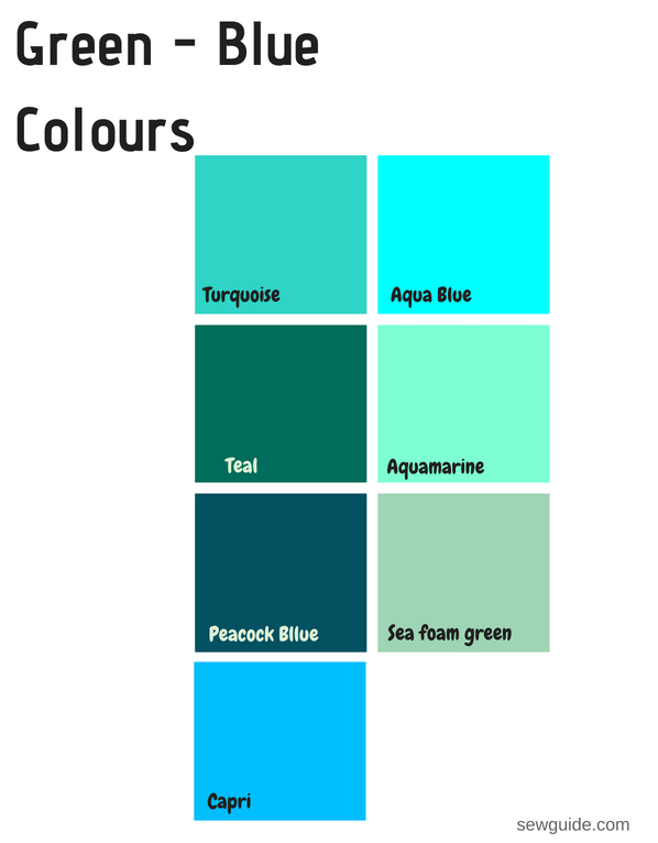 Color Names In Fashion Design An Easy Reference Guide For 100 Colours Sew Guide Teal Color Palette Turquoise Color Palette Blue Green Color Names