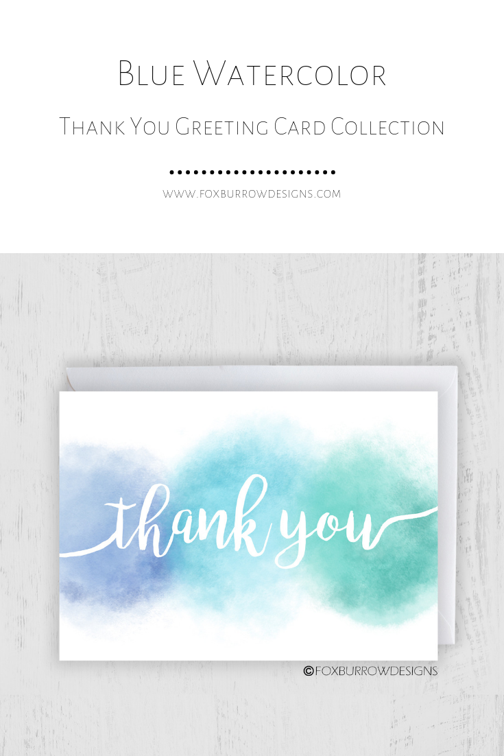 Thank You Card - Blue Watercolor $4.50 - $15.99 #thankyou #thankyoucards #thankyoustationery #greetingcards #stationery