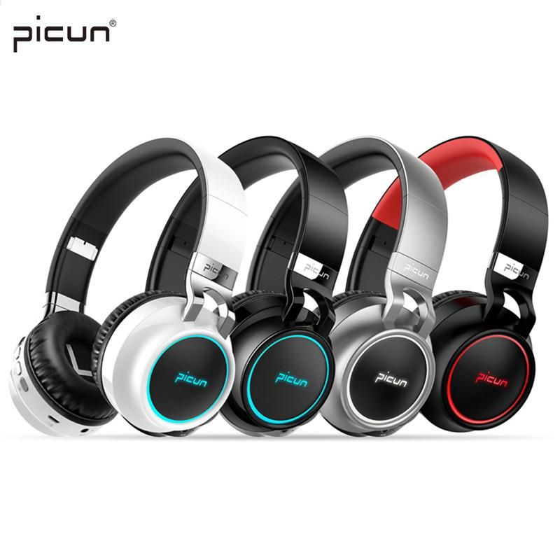 Picun P60 Wireless Gaming Headset Bluetooth Headphones Support 7 Colors Glowing Headphone With Mic For Bluetooth Headphones Headphones Wireless Gaming Headset